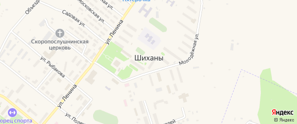 Территория СНТ Пионер на карте Шиханы с номерами домов