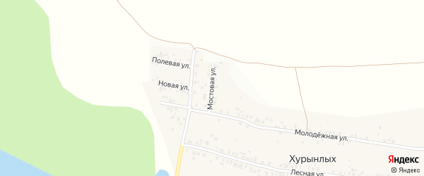 Мостовая улица на карте деревни Хурынлых с номерами домов