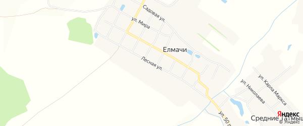 Карта выселков Лесного в Чувашии с улицами и номерами домов