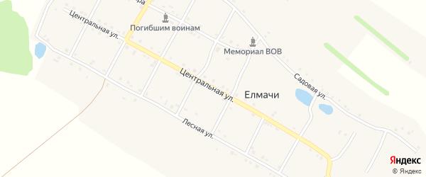 Центральная улица на карте деревни Елмачи с номерами домов