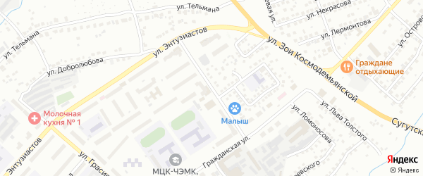 Улица Олега Кошевого на карте Чебоксар с номерами домов