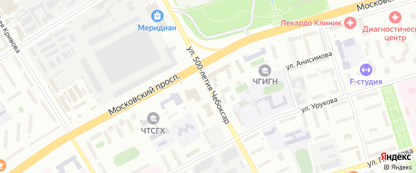Улица 500-летия Чебоксар на карте Чебоксар с номерами домов