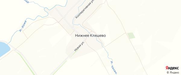 Карта деревни Нижнее Кляшево в Чувашии с улицами и номерами домов