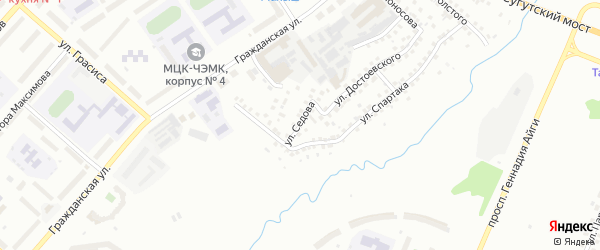 Улица Седова на карте Чебоксар с номерами домов