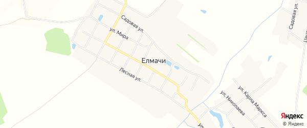 Карта деревни Елмачи в Чувашии с улицами и номерами домов