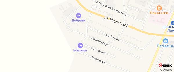 Солнечная улица на карте поселка Лимана с номерами домов