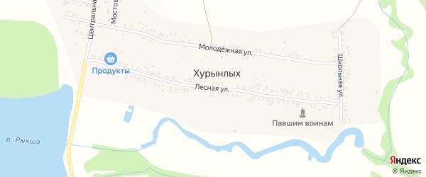Лесная улица на карте деревни Хурынлых с номерами домов