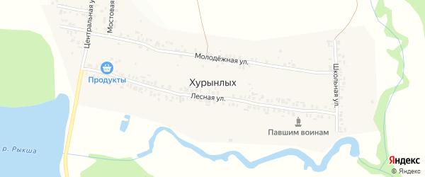 Центральная улица на карте деревни Хурынлых с номерами домов