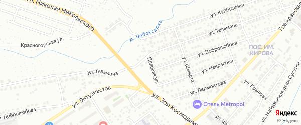Полевая улица на карте Чебоксар с номерами домов