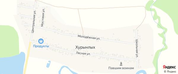 Молодежная улица на карте деревни Хурынлых с номерами домов