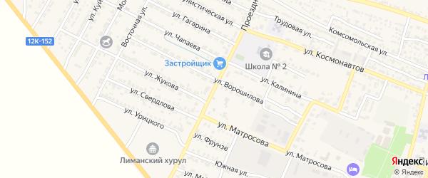 Проездная улица на карте поселка Лимана с номерами домов