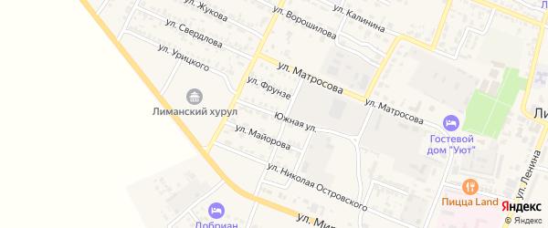 Южная улица на карте поселка Лимана с номерами домов