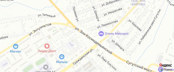 Улица Зои Космодемьянской на карте Чебоксар с номерами домов