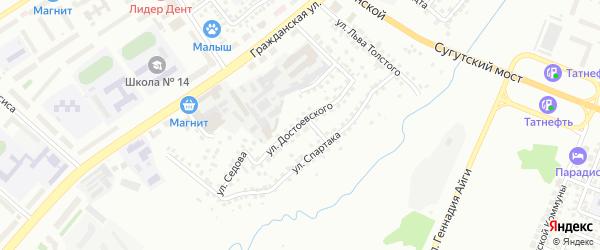 Улица Достоевского на карте Чебоксар с номерами домов