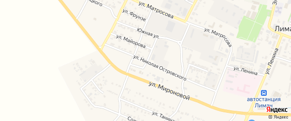 Улица Н.Островского на карте поселка Лимана с номерами домов