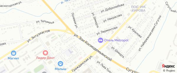 Улица Лермонтова на карте Чебоксар с номерами домов