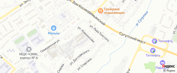 Улица Ломоносова на карте Чебоксар с номерами домов