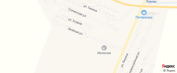 Зеленая улица на карте поселка Лимана с номерами домов