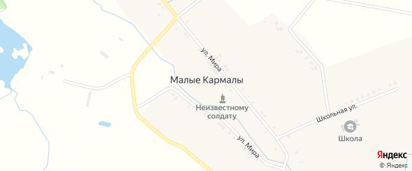 Школьная улица на карте села Малые Кармалы с номерами домов