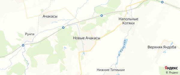 Карта Ачакасинского сельского поселения республики Чувашия с районами, улицами и номерами домов