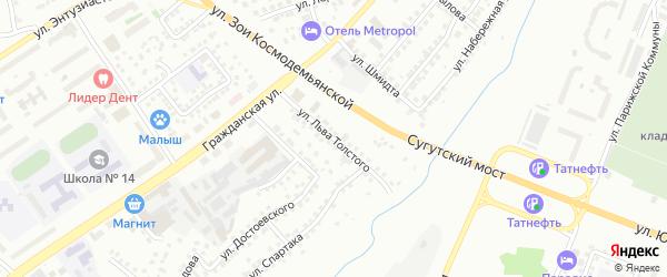 Улица Льва Толстого на карте Чебоксар с номерами домов