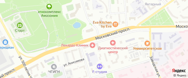 Московский проспект на карте Чебоксар с номерами домов