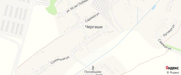 Зеленая улица на карте деревни Чергашей с номерами домов