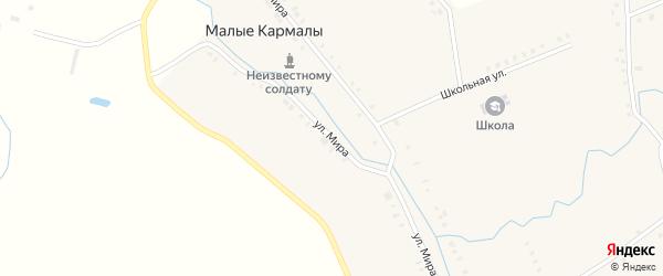 Улица Мира на карте села Малые Кармалы с номерами домов