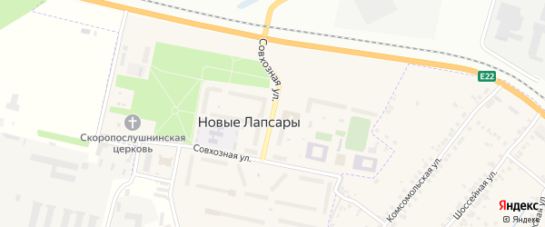 Совхозная улица на карте поселка Новые Лапсары с номерами домов