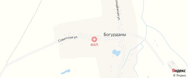 Советская улица на карте деревни Богурданы с номерами домов
