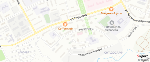 Радужная улица на карте Чебоксар с номерами домов