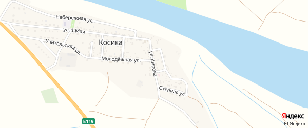 Улица Кирова на карте села Косики с номерами домов