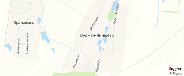 Карта деревни Вурман-Янишево в Чувашии с улицами и номерами домов