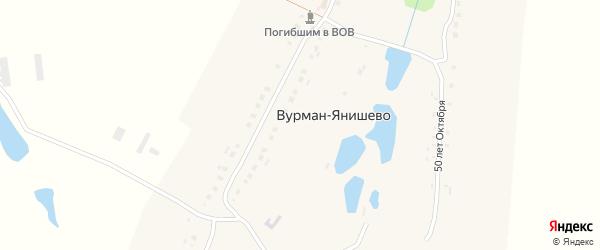 Лесная улица на карте деревни Вурман-Янишево с номерами домов
