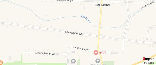 Канашская улица на карте села Климово с номерами домов