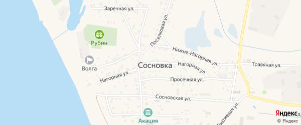 Нагорная улица на карте поселка Сосновки с номерами домов