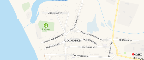 Поселковая улица на карте поселка Сосновки с номерами домов