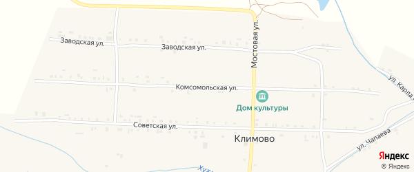 Комсомольская улица на карте села Климово с номерами домов