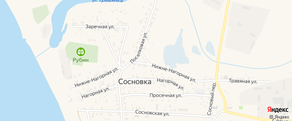 Нижне-Нагорная улица на карте поселка Сосновки с номерами домов