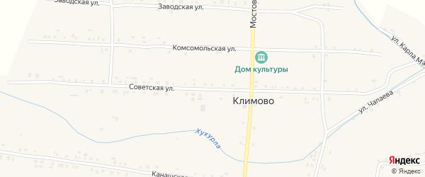 Советская улица на карте села Климово с номерами домов