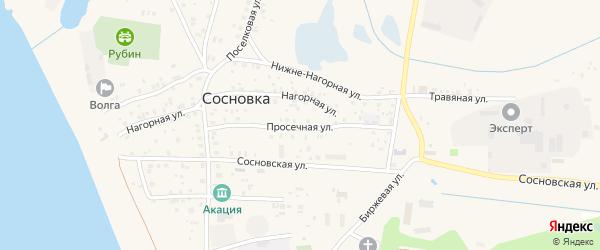 Просечная улица на карте поселка Сосновки с номерами домов