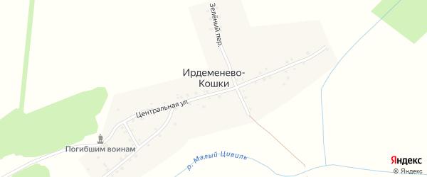 Центральная улица на карте деревни Ирдеменева-Кошки с номерами домов