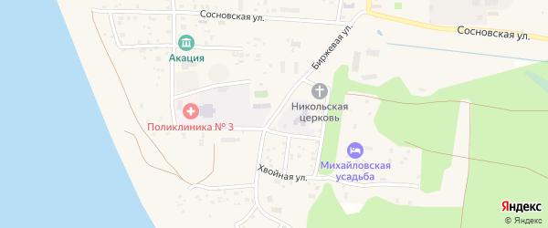 Биржевая улица на карте поселка Сосновки с номерами домов