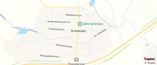 Карта села Климово в Чувашии с улицами и номерами домов