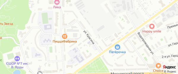 Улица Красина на карте Чебоксар с номерами домов