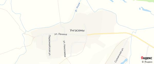 Карта деревни Унгасемы в Чувашии с улицами и номерами домов