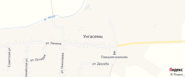 Улица Октября на карте деревни Унгасемы с номерами домов