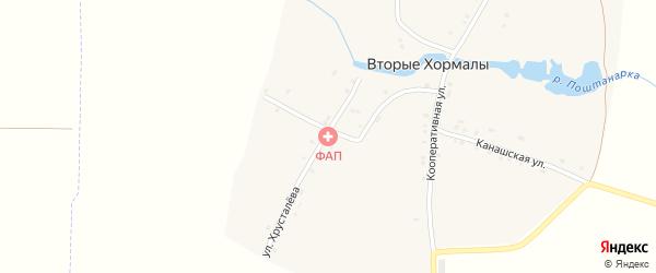 Переулок Мира на карте деревни Вторые Хормалы с номерами домов