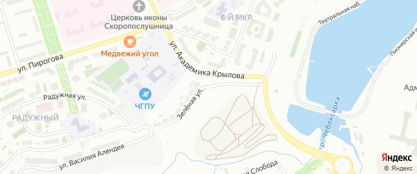 Зеленая улица на карте Чебоксар с номерами домов