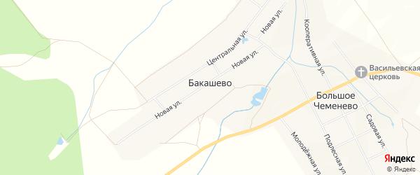 Карта деревни Бакашево в Чувашии с улицами и номерами домов